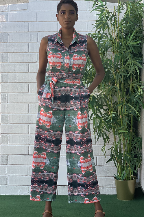 Sleeveless Jumpsuit With Tie/Belt & Pockets