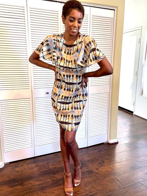 Cape Sleeve Sheath Dress