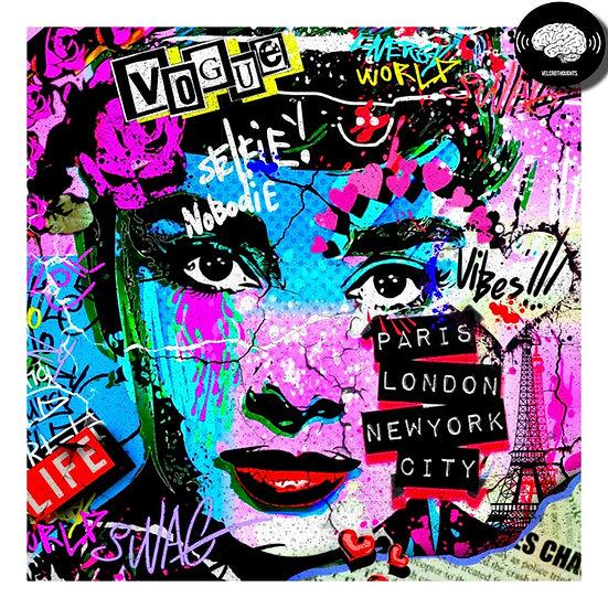 Audrey Hepburn Digital Art Print.
