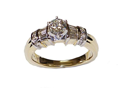 Platinum yellow gold diamond anniversary ring abraham jewelers
