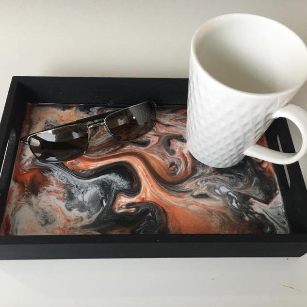 Resin Art on Black Wood Tray