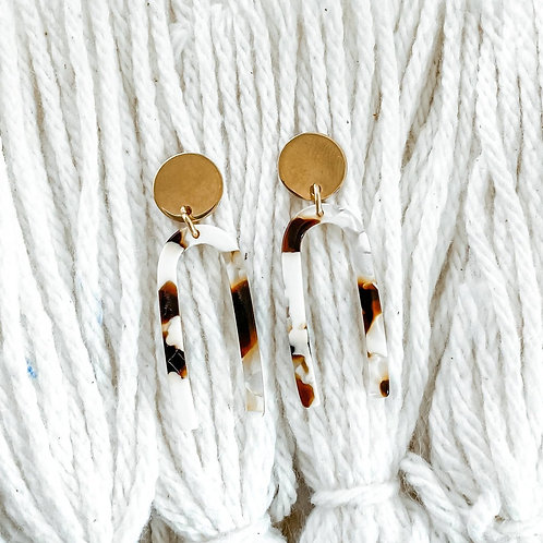 Tortoise Shell Arch Stud Earrings