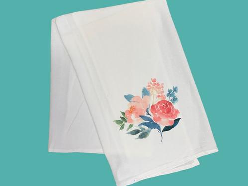 Peony - Indiana State Flower - Tea Towel