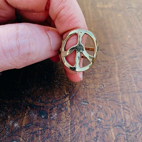 Gold Bohemian Hippie Hammered Peace Sign Adjustable Ring