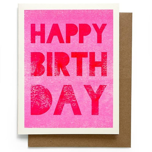 Pink and Red Happy Birthday Card