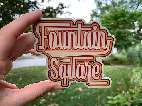 Sticker - Retro Fountain Square