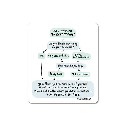 It's OK To Rest Flowchart Vinyl Sticker