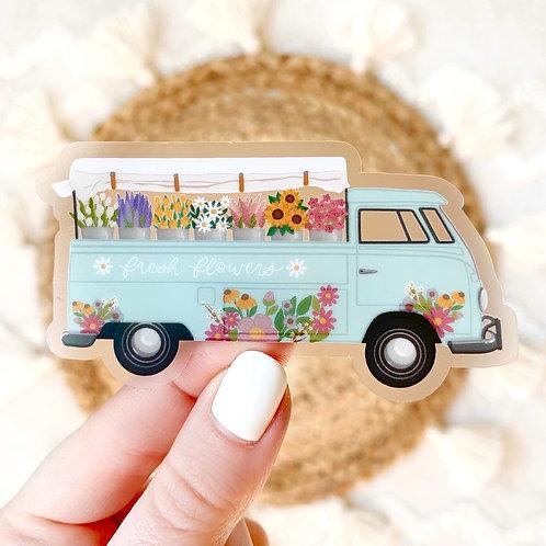 Clear Flower Truck Sticker