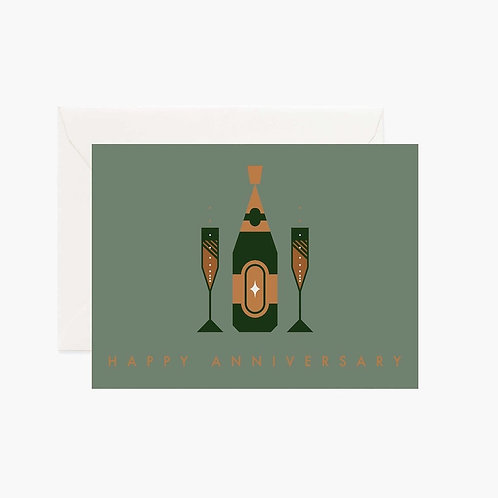 Gold Foiled Happy Anniversary Card