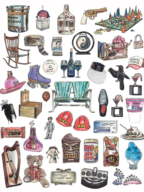 Objects from Parks and Rec Print