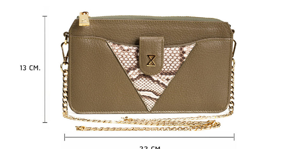 Lita Crossbody Bag x Python - Olive Green