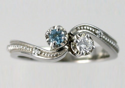 White and Blue Diamond Ring
