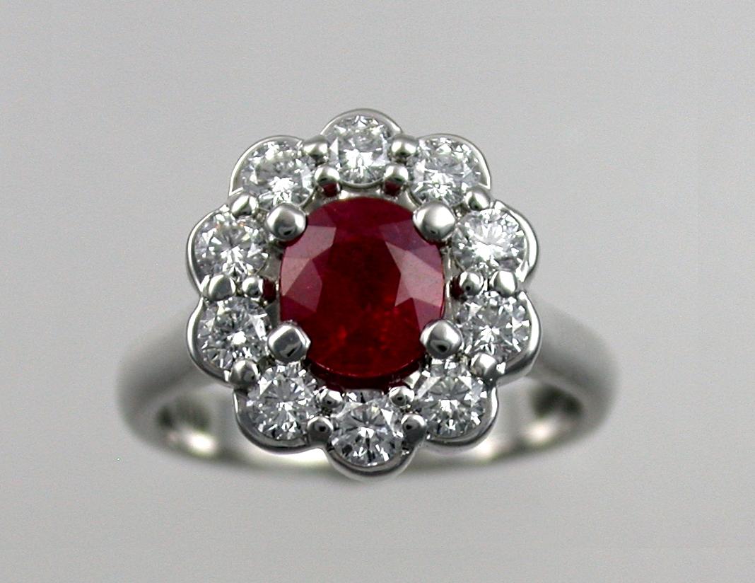White Gold Ruby Diamond Ring