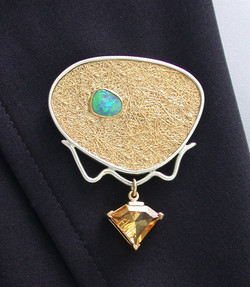 Opal and Citrine Brooch