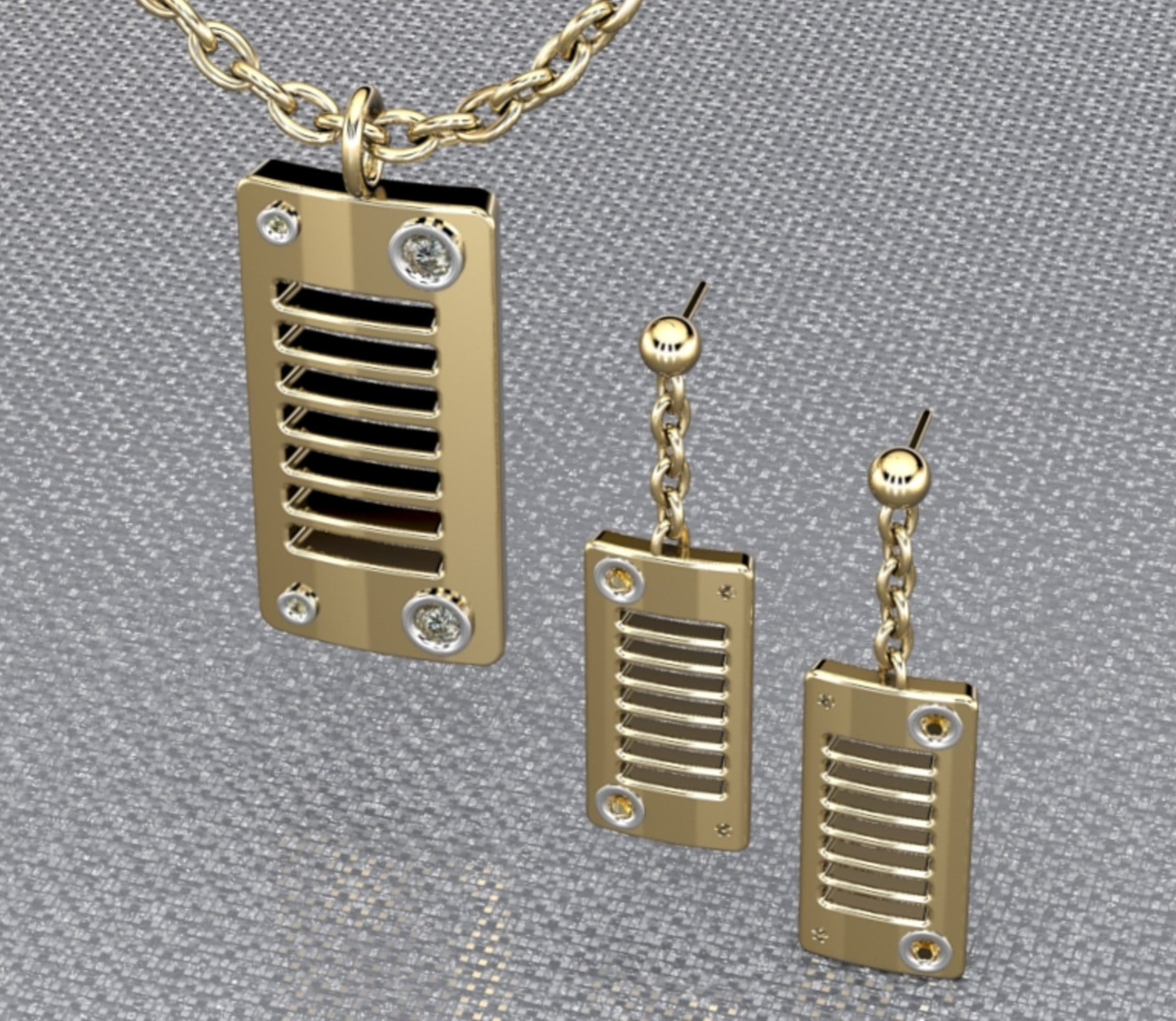 Jeep pendant with matching earrings.