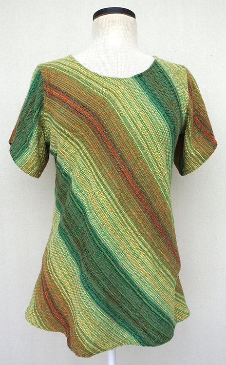 Green Sunflower Chenille Bias Cut Shirt