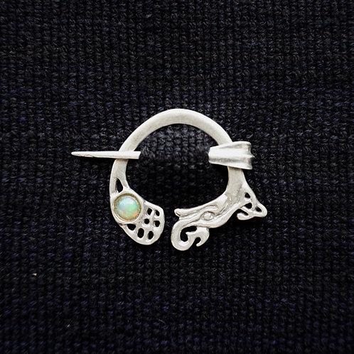 Kells Dragon | Button Brooch, Opal