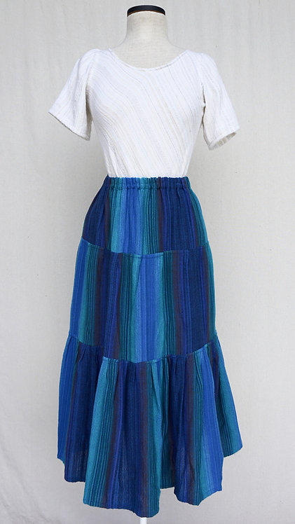 Blue Peacock Three Tiered Skirt