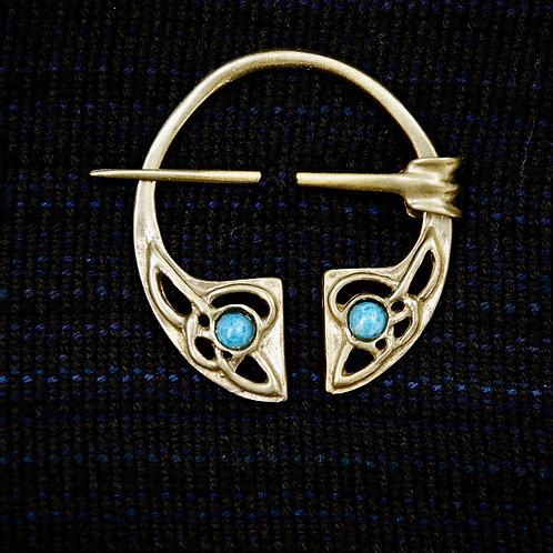 Handmade Celtic Bronze Penannular Brooch Lapis Lazuli