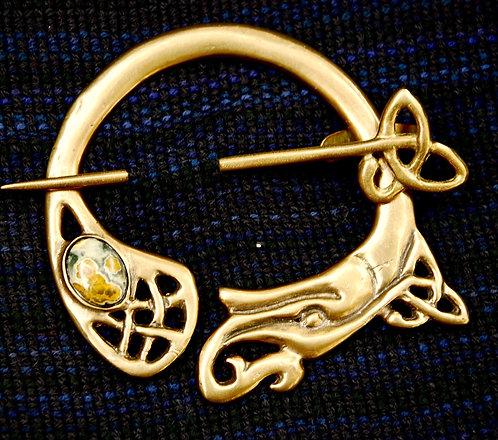 Handmade Celtic Bronze Brooch Jasper