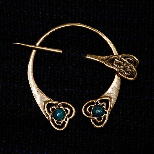 Handmade Celtic Bronze Brooch Aventurine