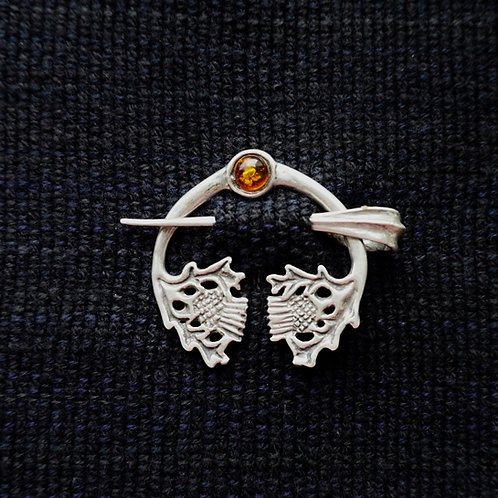 Thistle Button Brooch, Amber