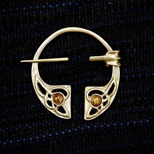 Handmade Celtic Bronze Penannular Brooch Amber