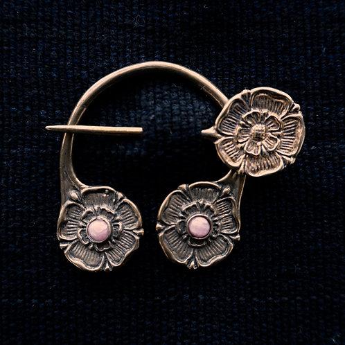 Tudor Rose | Brooch, Rhodochrosite