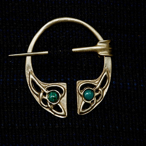 Handmade Celtic Bronze Penannular Brooch Malachite