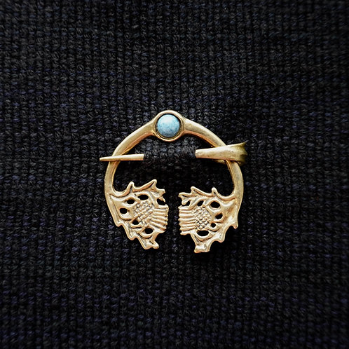 Thistle Button Brooch, Denim Lapis Lazuli