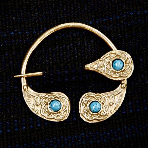 Handmade Celtic Four Seasons Bronze Brooch Denim Lapis Lazuli