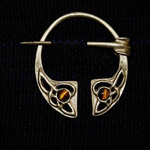 Handmade Celtic Bronze Penannular Brooch Tigers Eye