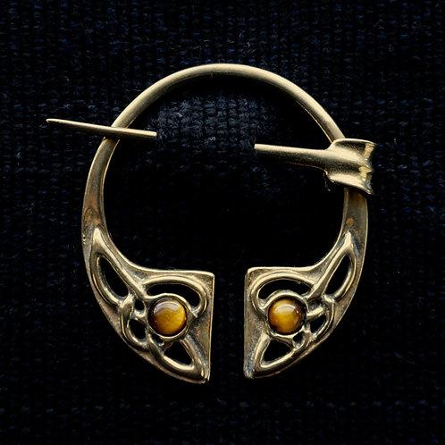 Irish Knot   Brooch, Tigers Eye