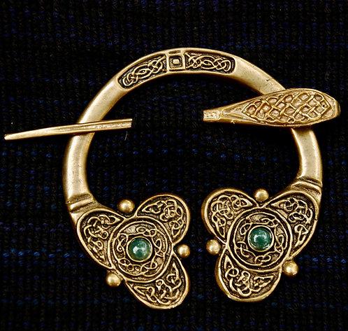 Handmade Celtic Bronze Brooch Jade