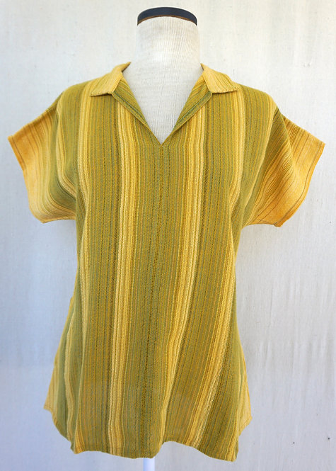 Chartreuse Sunflower | Collared Shirt with Pockets