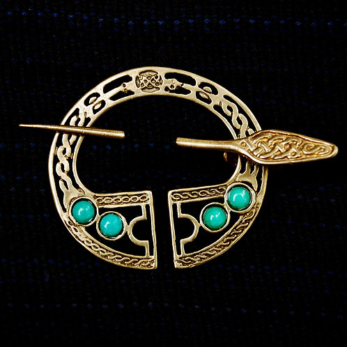 Handmade Celtic Legion Bronze Brooch Malachite