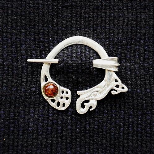 Kells Dragon Button Brooch, Amber