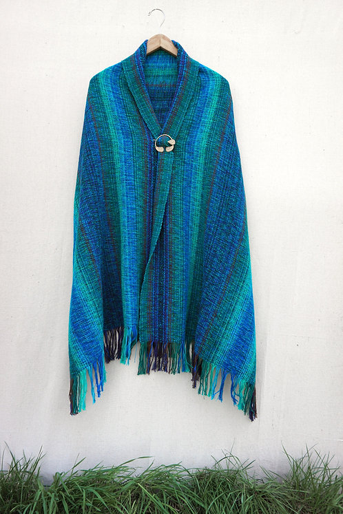 Blue Peacock Rectangle Shawl