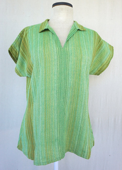 Leaf Green Sunflower | Collared Shirt with Pockets