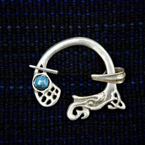 Handmade Celtic Silver Brooch Aventurine