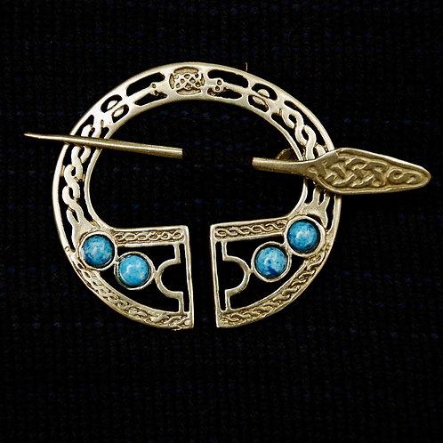Handmade Celtic Bronze Brooch Denim Lapis Lazuli
