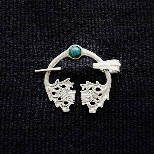 Thistle | Button Brooch, Chrysocolla