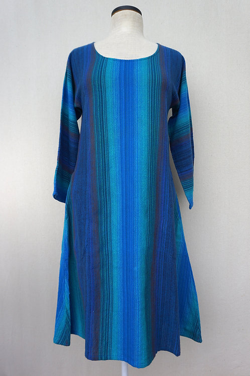 Blue Peacock Tunic, Scoop Neck