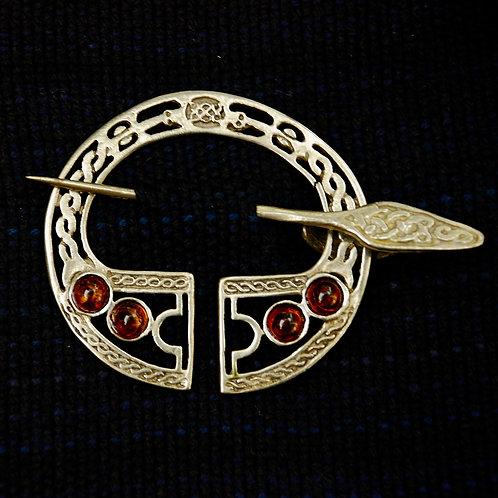 Handmade Celtic Legion Bronze Brooch Amber