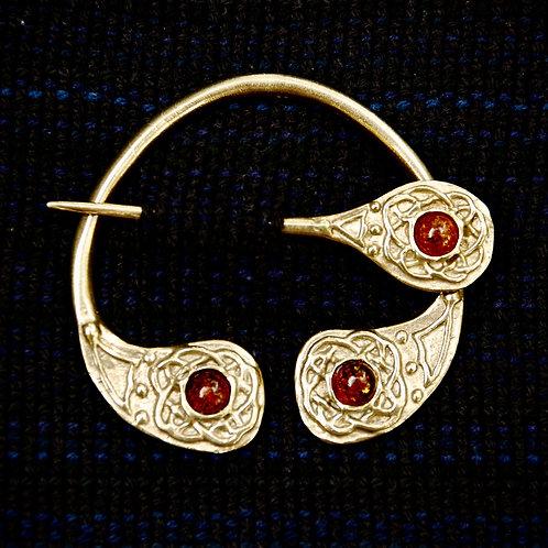 Handmade Celtic Four Seasons Bronze Brooch Amber