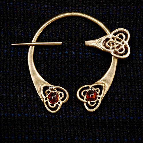Handmade Celtic Heart Bronze Brooch Amber