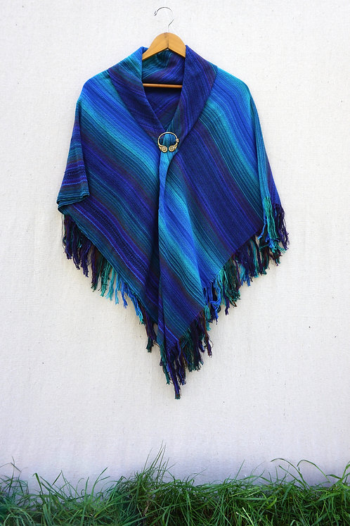 Blue Peacock | Square Shawl
