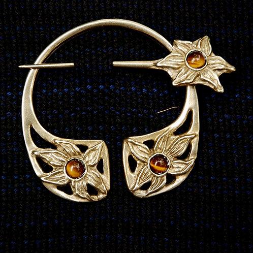 Handmade Bronze Floral Penannular Brooch Tigers Eye