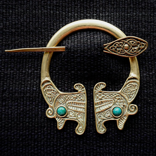 Viking Dragon | Brooch, Malachite
