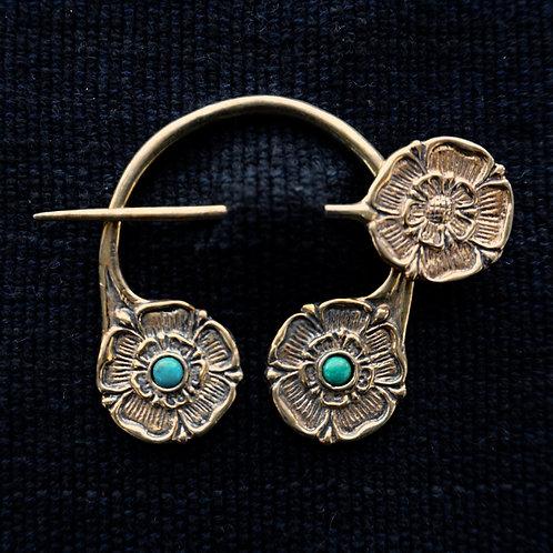 Tudor Rose | Brooch, Malachite